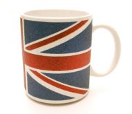 Glitter finish union jack mug